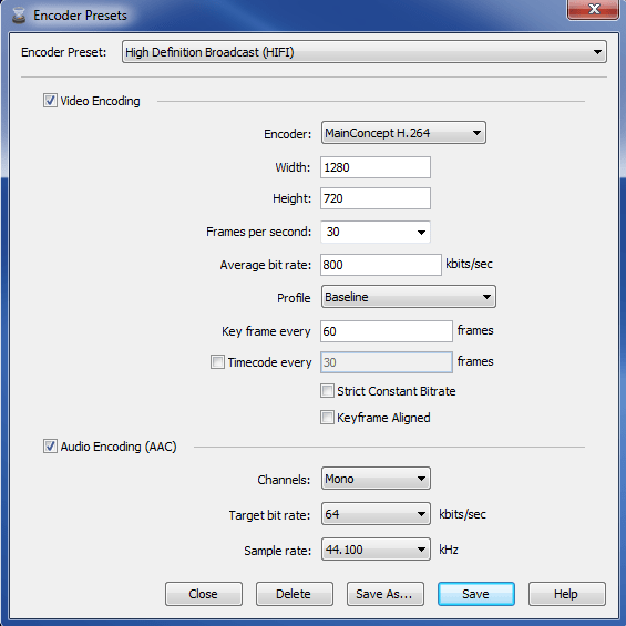 Wirecast encoder 6 - output settings - HIFI preset