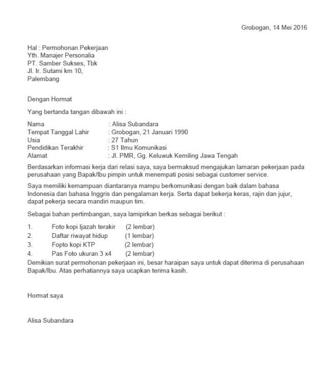 Surat lamaran Kerja Posisi Customer service