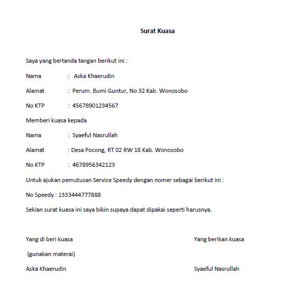 Contoh Surat Kuasa Grapari Telkomsel Curatoh Classycloudco