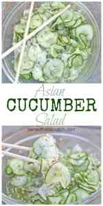 An easy, healthy, flavorful, Asian inspired Cucumber Salad- the perfect light side to any dish!