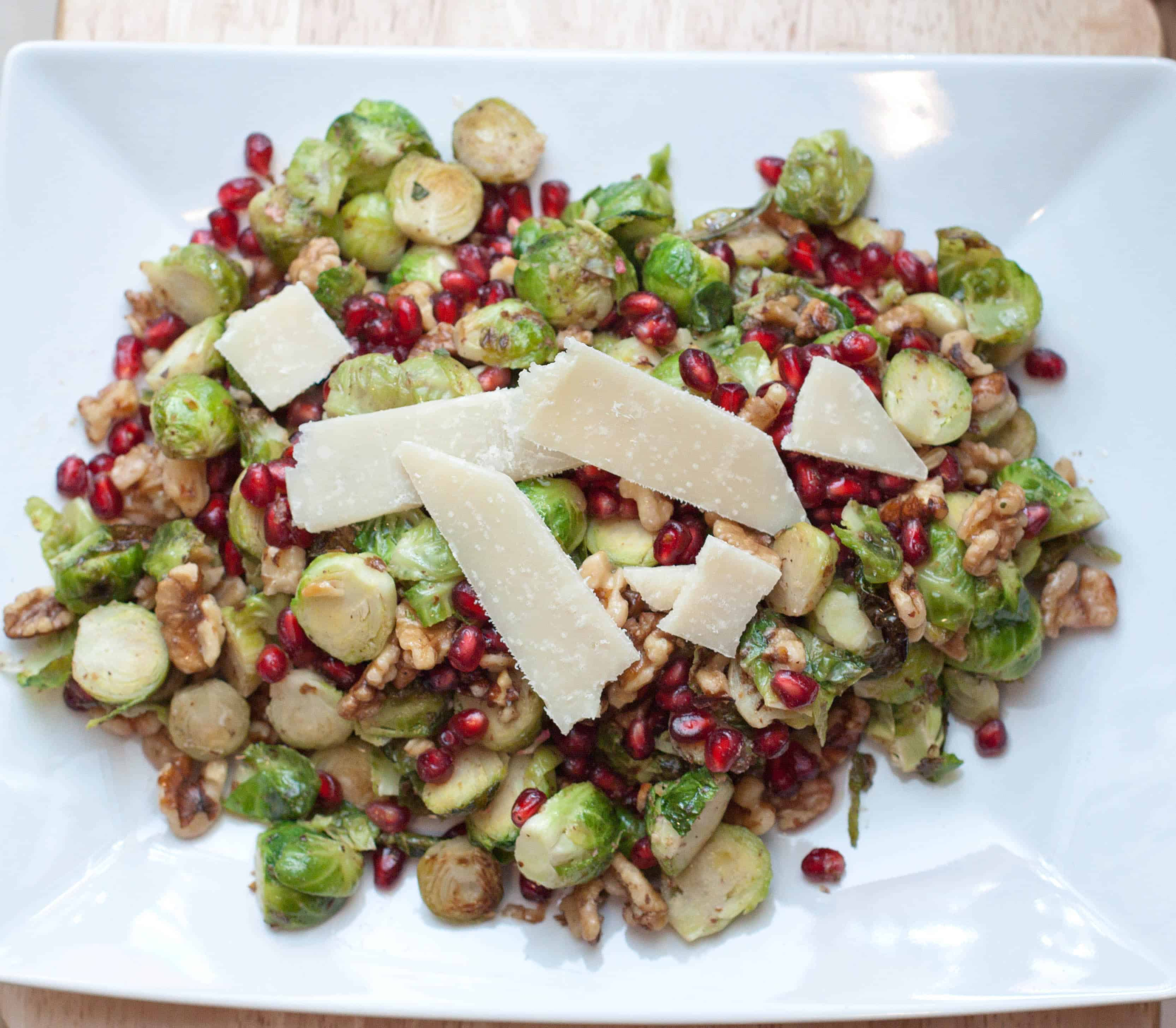 Roasted Brussels Sprouts and Pom