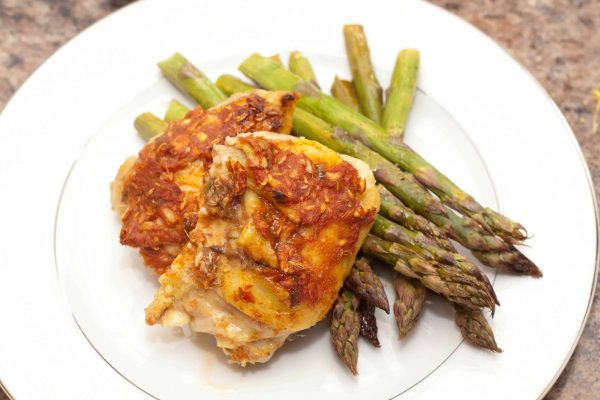 An easy, but flavorful Spicy Roasted Chicken thigh- the perfect weeknight dinner!
