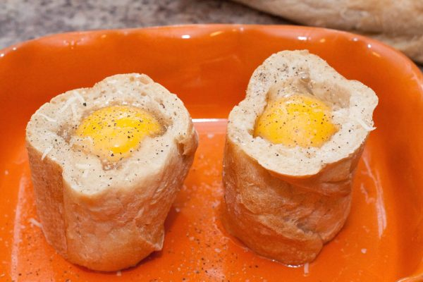 Baguette Baked Eggs with gruyere