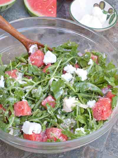 The perfect summer salad: Arugula, Watermelon, and Homemade Feta Cheese with a bright citrus vinaigrette