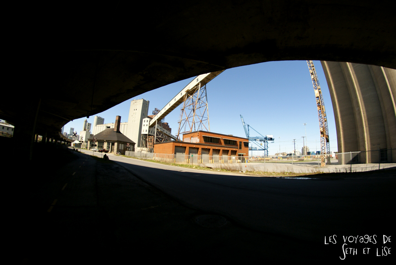 blog pvt canada montreal couple voyage autoroute usine farine fisheye