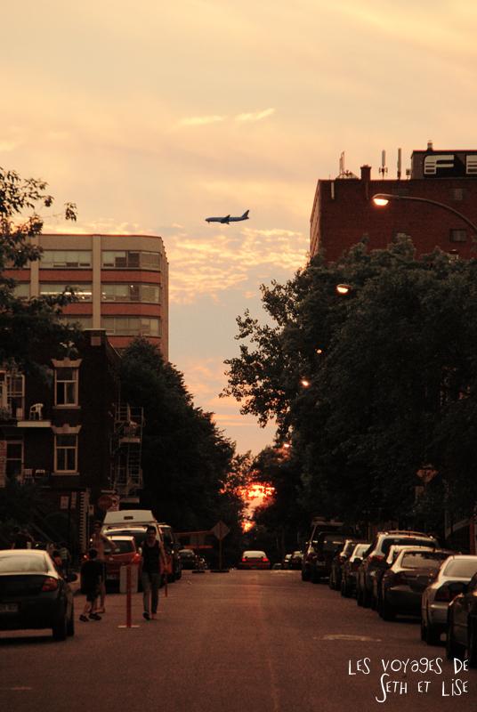 blog canada montreal pvt couple tour du monde voyage soleil couchant avion rue couleurs