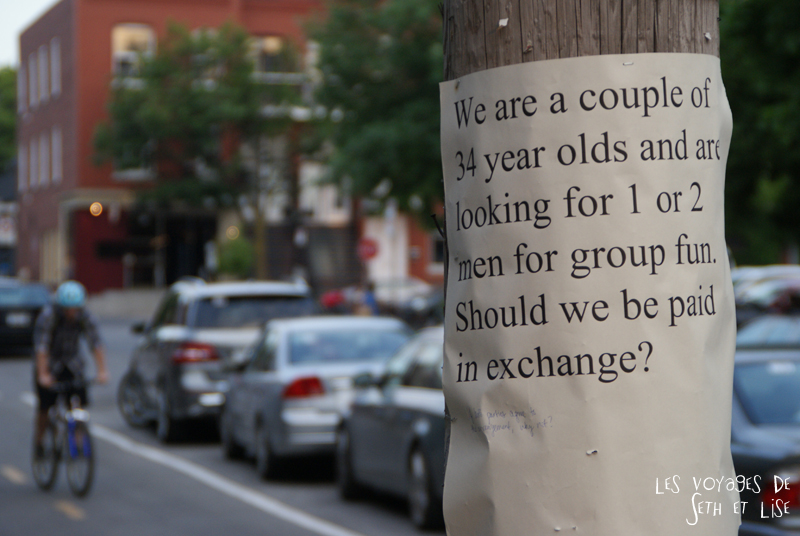blog voyage canada montreal pvt photo insolite flyer affiche drole message streetart art couple group sex echangisme