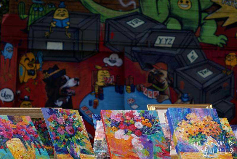 blog voyage canada pvt toronto kensington pedestrian market hippie chill street art painting style