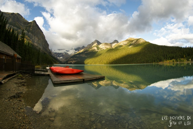 blog pvt photographie pvtiste canada alberta rocheuses rockies moutains voyage montagne couple tour du monde nature parc national lac lake louise canoe