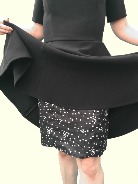 Black Full Circle Skirt Dress - Lining