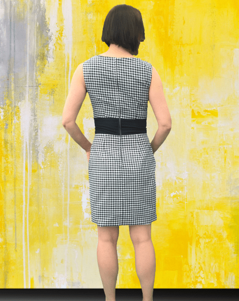 Black Gingham Dress Short Back