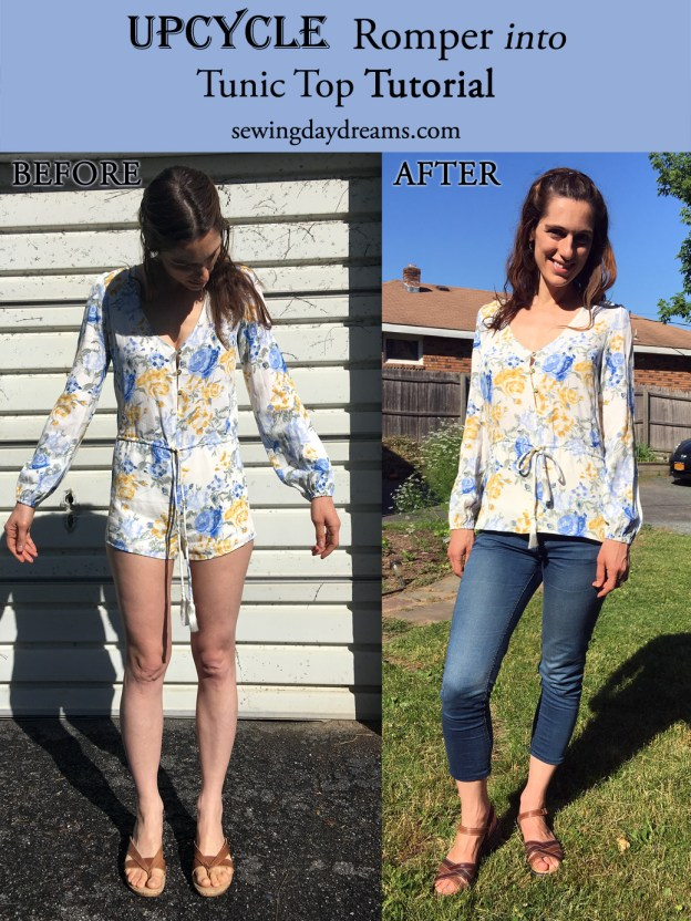 sewing daydreams upcycle romper tunic top tutorial