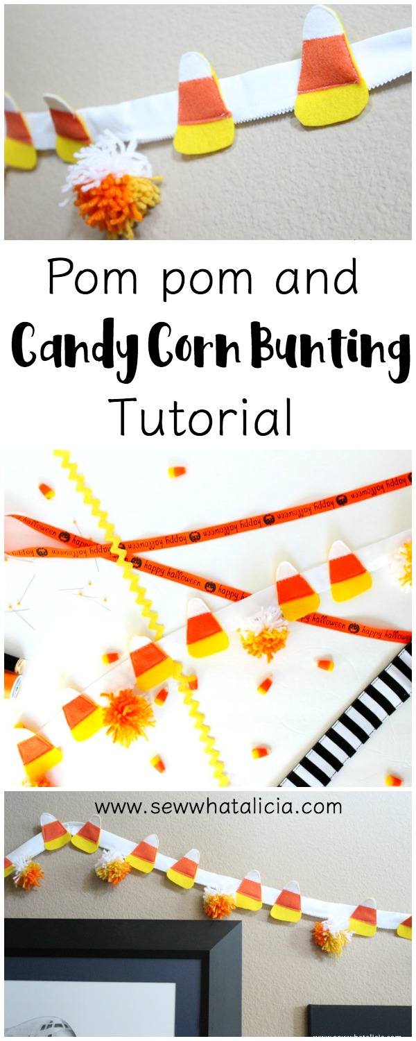 Candy Corn Bunting Tutorial: This is a great sewing project for beginners. Decorate for Halloween with this quick and easy candy corn bunting. | www.sewwhatalicia.com