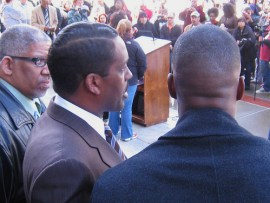 Its been three years since Minister Christopher Muhammad (center) began holding town hall meetings every Thursday in Hunters Point. Now there are weekly town halls in seven cities.  Photo: Francisco Da Costa