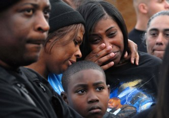 Oscar Grant's mother and family weep as they lead over a hundred people on a march through Hayward Feb. 27, on what would have been Oscar's 23rd birthday. A rally in front of the Hayward City Hall followed, but no officials came out to show support – only the police, who severely harassed the marchers. Is Oscar's life worth less than the four police officers killed March 21? – Photo: Bill Hackwell