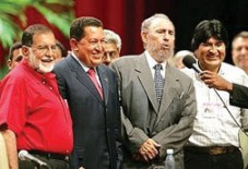 Celebrating the election of Bolivian President Evo Morales (right) are, from left, Shafik Handal, the FMLN's presidential candidate in 2004, Venezuelan President Hugo Chavez and then Cuban President Fidel Castro. Handal, of Palestinian descent, died in 2006 at the airport in El Salvador, upon his return from Evo Morales' inauguration.
