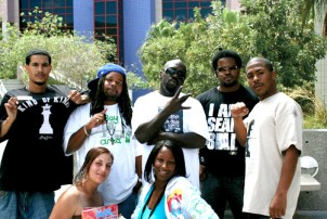 In this photo, one of the many that used to grace the pages of the Bay View until M.O.I. JR's camera was confiscated by OPD on Jan. 7, the homie, Amin, Fleetwood, NY Oil, M.O.I. JR and, in front, Maya Rise and Apollonia are politicking last August in Las Vegas at the '08 Hip Hop Political Convention. – Photo: Minister of Information JR