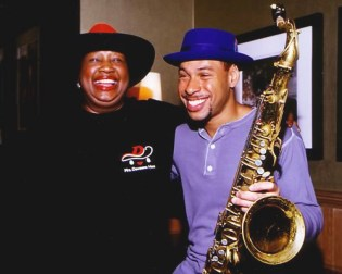 Ruth Dewson of Mrs. Dewsons Hats and jazz musician Joshua Redman with their crowns