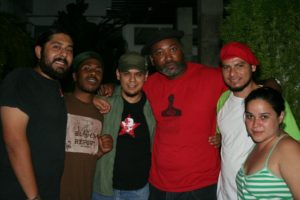 POCC Minister of Information JR, Chairman Fred Hampton Jr., and Radio Zurda in San Salvador, El Salvador. Radio Zurda is a political radio show for youth by youth, that broadcasts to all of El Salvador and Honduras.