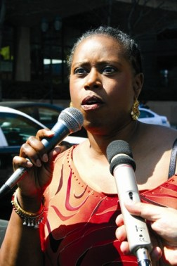 Cynthia McKinney at a Philly Mumia rally.