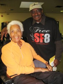 Black Panther veterans Kiilu Nyasha and Richard ONeal, the first of the SF 8 whose charges were dropped  back on Feb. 7, 2008  enjoy the fellowship at Ella Hill Hutch Tuesday.  Photo: Wanda Sabir