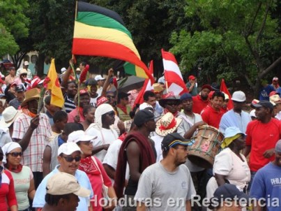 The National Black Organization of Honduras marches against the coup.