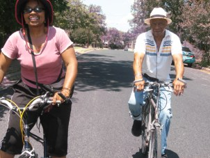 Wanda Sabir went biking with Robert King of the Angola 3 in Austin last month.  Photo: Wanda Sabir