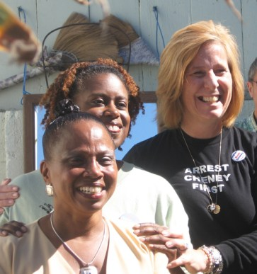 These three brave women, Ahimsa Sumchai, Cynthia McKinney and Cindy Sheehan, though they have not always won at the polls, have revolutionized politics. This photo was taken at a fundraiser in the Bay View newspaper's back yard on Oct. 6, 2007, when Dr. Sumchai was running for mayor of San Francisco. – Photo: John Morton