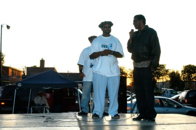 Chairman Fred Hampton Jr. of the Prisoners of Conscience Committee and James Clark, the brother of assassinated Black Panther Defense Captain Mark Clark, shared the stage at the Chairman Fred Hampton Street Party in Chicago, celebrating the birthday of the Black Panther leader Chairman Fred.