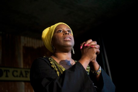 Cynthia McKinney spoke passionately at every stop on her five-day Gaza Solidarity Triumph Tour – at all five major events and many interviews. Here she's inspiring the crowd Aug. 21 at the Black Dot in the West Oakland Bottoms. – Photo: Kamau Amen-Ra