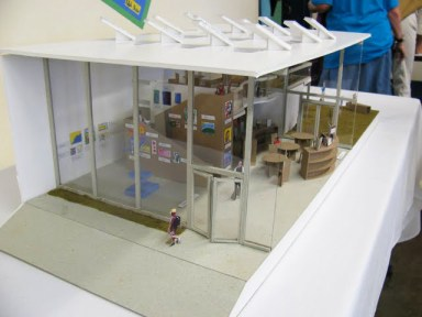 The Rethinkers' model of a school entrance was created with the assistance of professional architects. It includes ideas for promoting safety and dignity: a chill-out zone, peer mentors and a reconciliation circle where students resolve conflicts peacefully. – Photo: Erin Porter