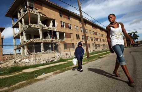 Not only were 4,500 livable apartments in New Orleans demolished for no reason but to get rid of their Black residents, but public housing residents protesting the wrongful demolition of their homes were beaten by riot police. – Photo: Mario Tama
