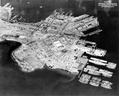 This is an aerial view of the Hunters Point Naval Shipyard in 1948, when it was not only the headquarters for U.S. radiological research but an economic engine for the community, employing some 10,000 residents of Bayview Hunters Point. Because those Black Shipyard workers were savvy investors, the neighborhood still boasts San Francisco's highest rate of home ownership. But because of the radiation and other toxins they were exposed to, thousands of the workers died prematurely.