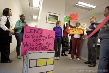 Bayview Hunters Point residents led by POWER entered the San Francisco office of Sen. Mark Leno on Friday to protest legislation he authored that would transfer state parkland to a private developer, the infamous Florida-based Lennar. – Photo: Luke Thomas