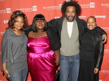"Central figures in the film ""Precious"" – Mo'Nique, who plays the mother, Mary; Gabourey ""Gabby"" Sidibe, Precious; director Lee Daniels; and Sapphire, author of the novel, ""Push,"" the basis of ""Precious"" – gather at Sundance Jan. 16, 2009. – Photo: Jason Merritt, Getty Images"