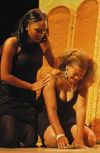 """Epheann English (right) plays Sista in a scene from """"Sparkle"""" with co-star Allena Alasade at the Black Repertory Theatre in Berkeley. - Photo: Isaac Thomas, The Advocate"""