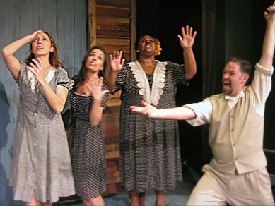 "Katie Kimball, Rona Siddiqui, Erica Richardson and Edward Hightower perform in the Custom Made Theatre production of ""Cotton Patch Gospel."""