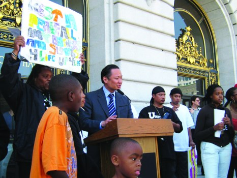 "Will Jeff Adachi run for mayor of San Francisco? Rumors are running 'round, and the bay View says, ""RUN, JEFF, RUN!"" Here, Jeff speaks at United Playaz' Silence the Violence rally on June 18. – Photo: Francisco Da Costa"