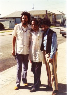 Musician Kunle Mwanga, poet Bob Kaufman and writer Amir Bey in Oakland in April 1975