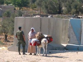 An Israeli soldier stops a Palestinian farmer trying to bypass a Bethlehem checkpoint.