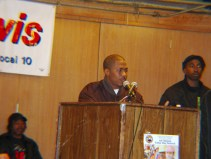 POCC Minister of Information JR speaks at the ILWU Black History Month rally, Racism, Repression and Rebellion: The Lessons of Labor Defense, on Saturday, Feb. 14. Other speakers included Clarence Thomas and Jack Heyman, ILWU Local 10; Martina Davis-Correia, death penalty opponent and sister of death row prisoner Troy Anthony Davis; Robert R. Bryan, lead attorney for Mumia Abu-Jamal; Gerald Sanders, former Black Panther and labor organizer; Richard Brown, former Black Panther and member of the San Francisco 8; Pierre Labossiere, co-founder of the Haiti Action Committee; Rev. Cecil Williams, Glide Memorial United Methodist Church; and Tayo Aluko, who recreates Paul Robeson in his play Call Mr. Robeson.  Photo: Dave Id, Indybay