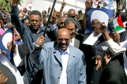 Omar al-Bashir, speaking to thousands of supporters in Khartoum, angrily rejected war crimes charges by the International Criminal Court on Thursday, March 5. The true criminals are the leaders of the United States and Europe, he said. We have refused to kneel to colonialism; that is why Sudan has been targeted.  Photo: AFP