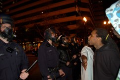 Oakland police repeatedly blocked protesters' progress as they marched from a 3 p.m. rally Wednesday at the Fruitvale BART station where Oscar Grant had been executed by BART police to downtown Oakland. – Photo: M, IndyBay
