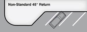 Alternative bulb-out return radii (angled return - may be parallel or angled parking)