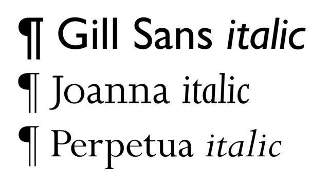 Gill Sans, Joanna and Perpetua font specimens