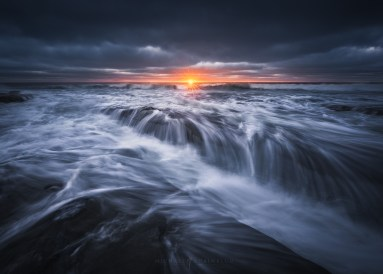 beach, stormy, sunset, san diego