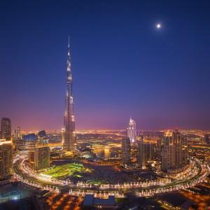 Burj Khalifa Moonlight, taken in Dubai at sunset.