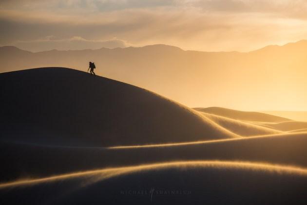 Death Valley Sand Dune Sunrise Hiker