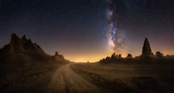 Milky Way Night Sky Road Trona Pinnacles