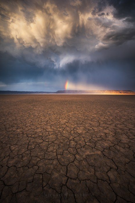 Playa Desert Cracks Sunset Storm Rainbow